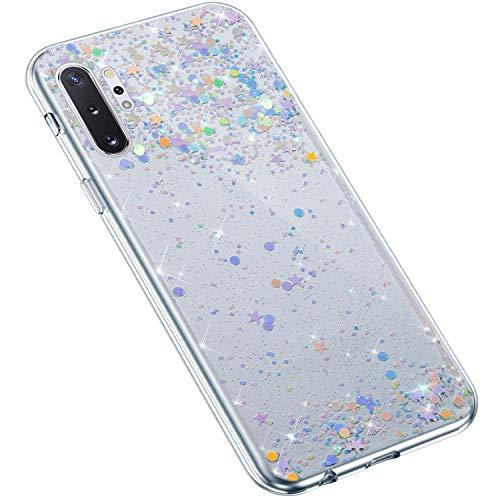 Uposao Kompatibel mit Samsung Galaxy Note 10 Plus Hülle Glänzend Bling Glitzer Sterne Pailletten Diamant Transparent TPU Silikon Handyhülle Ultra Dünn Durchsichtige Bumper Case Tasche,Blau Lila