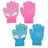 SaniMomo 2pcs Kinderhandschuhe Vollfinger Strick Warm Mitten Winterhandschuh Mit Kristallen