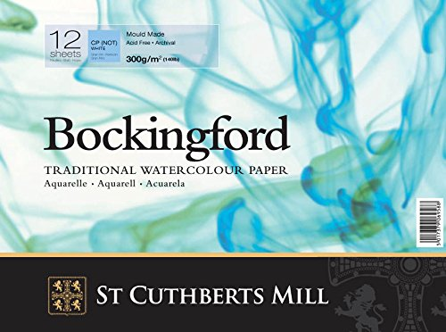Bockingford Watercolour Paper Spiral Bound Pad 12 Sheets 300Gsm , 12 X 9'
