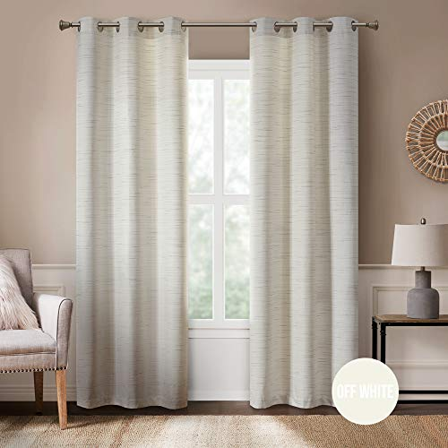 Rustic Modern Curtains for Living Room | Farmhouse Bedroom Window Treatment | Grasscloth Faux Linen | Room Darkening Grommet Top Decor | Off/White 40x84 Inches - 2 Panels