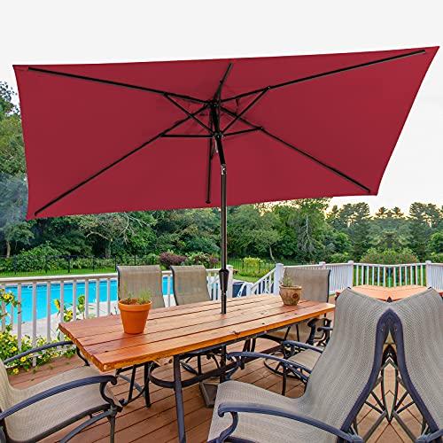 Bumblr Rectangular Patio Umbrella 6.5x10ft Outdoor Market Table Umbrella with Push Button Tilt&Crank Wind Resistant UV Protected Sun Shade for Garden Lawn Deck Backyard Pool, Red