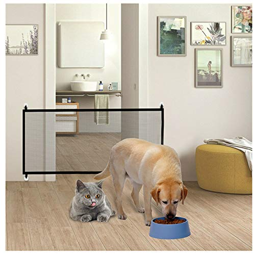 Pet Fence Magic Pet Isolation Gate for Dogs Portable Mesh Folding Baby Safety Fence Gate