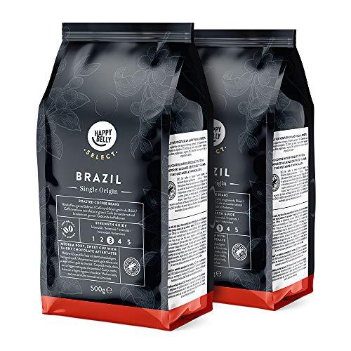 Amazon-Marke: Happy Belly Select Röstkaffee aus Brasilien, ganze Bohnen, 2 x 500gr