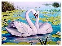 ダイアモンドペインティング 5D DIYダイヤモンド絵画刺繍白鳥クリスタル描画針仕事ギフトフルダイヤモンドモザイククロスステッチ家の装飾 (Color : 4, Size : Round 20x25cm)