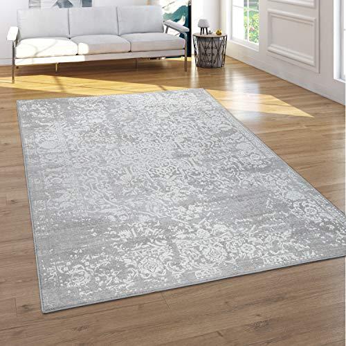 Paco Home Teppich Wohnzimmer Kurzflor 3D Effekt Orientalisches Muster Ornamente Grau Creme, Grösse:120x160 cm