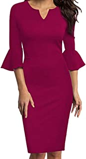 ZSBAYU Womens Ruffle Bodycon Sheath Dress Sexy V-Neck Flounce Bell Sleeve Office Work Cocktail Business Casual Pencil Dress