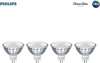 Philips LED Classic Glass MR16 Dimmable 35-Degree Spot Light Bulb: 380-Lumen, 3000-Kelvin, 5.5-Watt (35-Watt Equivalent), GU5.3 Bi-Pin Base, Bright White, 4-Pack