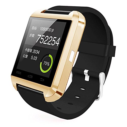 [Prime] U8 Bluetooth V4.0 Bluetooth Wrist Smart Watch WristWatch UWatch for IOS Android iPhone 4/4S/5/5C/5S Samsung S2/S3/S4/Note 2/Note 3 HTC Sony Blackberry (Gold)