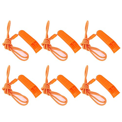 SUNVORE Silbato de Seguridad Marino con cordón (6 Unidades) para Barcos, Camping, Senderismo, Caza,…