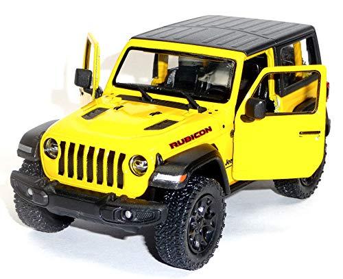 bester Test von jeep wrangler rubicon Universal Jeep Wrangler Bicon Modell ca.  Kinsmart 12,5 cm gelb geschlossene Oberseite