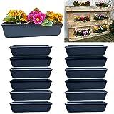 Juego de 12 jardineras de balcón, uso para palés europeos, para flores, hierbas y frutas, 12 unidades, 37 cm
