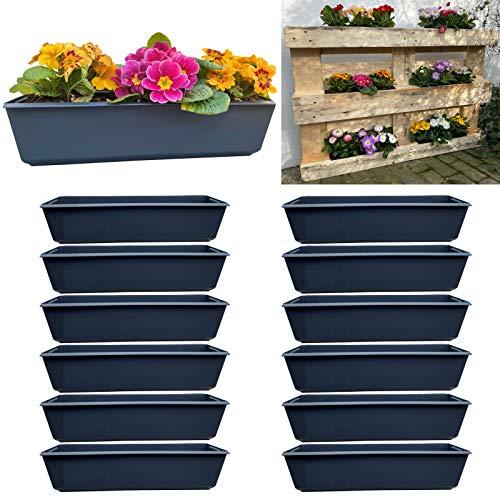12er Blumenkasten Set Balkonkasten Einsatz passend für Europaletten für Blumen, Kräuter und Früchte 12 Stück 37cm