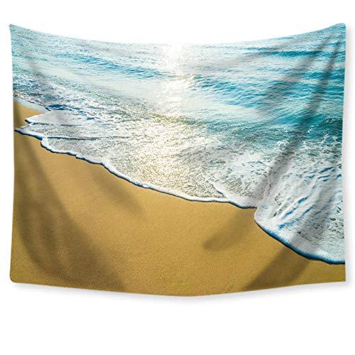 KnSam Tapiz de pared de playa con agua marina, 130 x 150 cm, decoración de pared