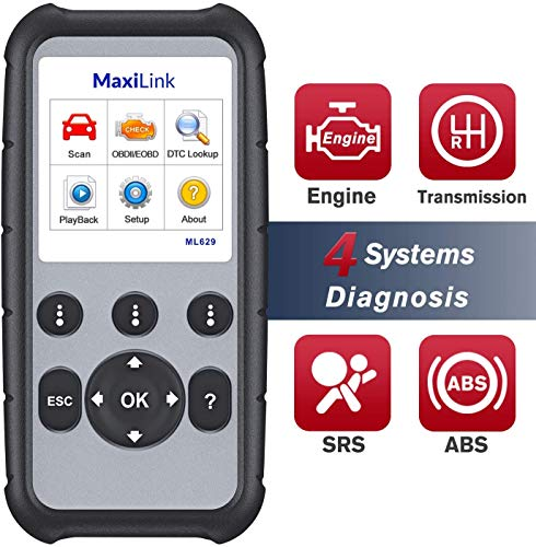 Autel Scanner MaxiLink ML629 OBD2 Code Reader With AutoVIN Function+ABS/SRS/Engine/Transmission Diagnostic Scan Tool, Turns Off Engine Light (MIL) and ABS/SRS Warning Lights, Upgraded Version of ML619