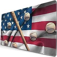 アメリカの国旗の野球のバット滑り止めマウスマットパーソナライズされたデスクパッドオフィスコンピュータプロフェッショナルeスポーツ用の デスクマット