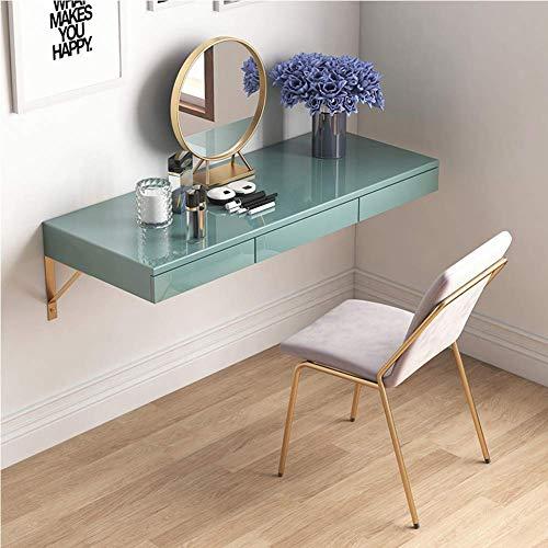 LLFFDC Houten make-uptafel met spiegel, aan de muur bevestigd tafeldressing, studiebureau make-uptafel met schuifladen voor veel opbergruimte