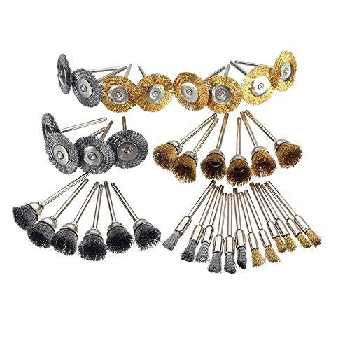 Bestgle Juego de 36 brochas de alambre para ruedas abrasivas Cerdas de Acero Revestidas de Latón de ruedas para herramienta rotativa Dremel cepillo alambre dremel