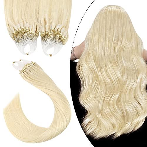 Ugeat Unsicitbar Micro Loop Extensions Echthaar Platinblond #60 Micro Bead Fusion Hair Extensions Microring Haarverlangerung Echthaar 60cm 1Gramm*50Strähnen Echt Haarextension mit Ring