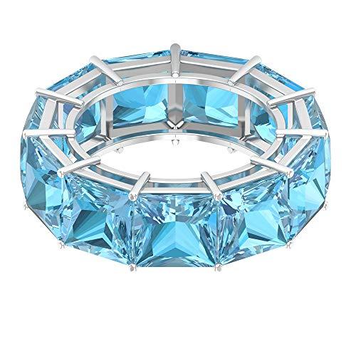 Anillo de boda moderno, anillo de eternidad, 16,5 ct 7 mm, corte princesa, anillo de aguamarina, anillo de piedra natal de marzo, anillos para mujeres, 14K Oro blanco, Size:EU 66