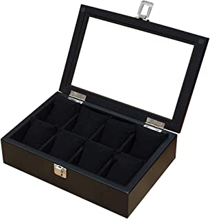 8-Slot Wooden Watch Display Box Glass Top Jewelry Storage Organizer Strong Security Lock Jewelry Store Detachable Mat