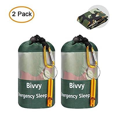 JYSW Lightweight Waterproof Emergency Survival Sleeping Bag PE Bivy Sack Thermal Emergency Blanket with Portable Drawstring Bag + Whistle + Carabiner (Camouflage-2 Packs)