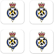 Clay England Family Crest Square Coasters Coat of Arms Coasters - Set of 4
