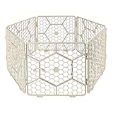 UPIT 6-Panel Pet Fence Playpen with Door, Small Animal Portable Cage Indoor, 24.5' Ivory
