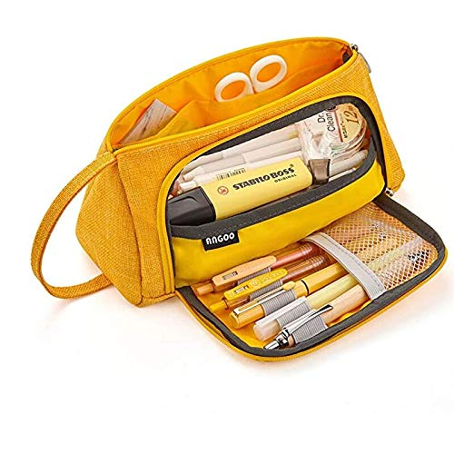 N / A Makaron double Pencil Case Large Capacity School Pen Case Supplies School Box pen bag Pencils Pouch Stationery as show