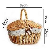 Cesta de picnic ovalada de doble tapa para lavado antiguo, con forro de celosía roja, mimbre, marrón, 33 x 23 x 17 + 15 cm