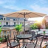 Patio Umbrella 9FT, Outdoor Umbrella, Market Umbrella for Garden Pool with Push Button Tilt&Crank,8 Ribs Hanekuc
