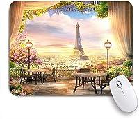 VAMIX マウスパッド 個性的 おしゃれ 柔軟 かわいい ゴム製裏面 ゲーミングマウスパッド PC ノートパソコン オフィス用 デスクマット 滑り止め 耐久性が良い おもしろいパターン (フランスの夢のようなパリエッフェル塔花シティービュー写真背景)