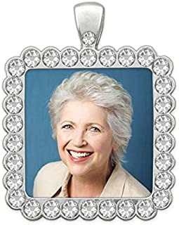 Wedding Bouquet Brides Photo Charm Rhinestone Square Bridal Memorial Photo Frame with Photo Resizing Software