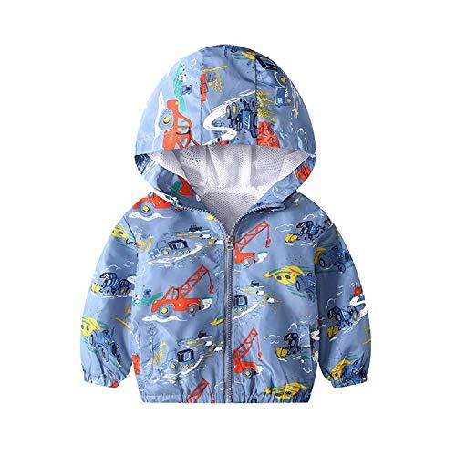 JinBei Cappotto Giacca a Vento Ragazzo Con Cappuccio Sottile Giacche e Cappotti Blu Escavatore Cerniera Primavera Autunno Protezione Solare Vestiti Bambino Impermeabile Abbigliamento 5-6 Anni