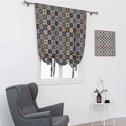 GugeABC Sombras de globos marroquíes, cuadrados azulejo portugués a cuadros, patrón colorido, arreglo floral, amarre para ventana, azul oscuro, rojo, 30 pulgadas x 64 pulgadas