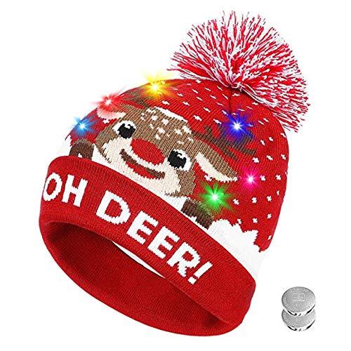 Amyline Led Colorful Lights Christmas Hat Women Men Unisex Christmas LED Hat Beanie Knit Cap Light Up Xmas Cap Costume