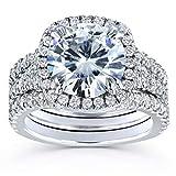 Kobelli Round Forever One D-F Moissanite Cushion Halo Bridal Wedding Set 4 1/3 CTW 14k White Gold 3 Piece Set, 7