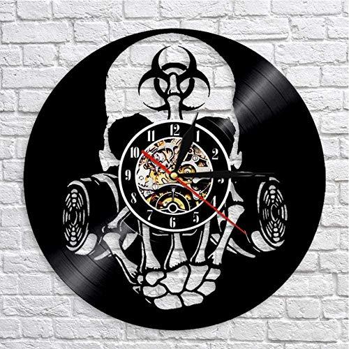 TSTHYZ Toxic Biohazard Zombie Gas Mask Skull Wall Clock Vinyl Record Clock Biochemical Skull Wall Art Clock Halloween Skull Lovers Gift