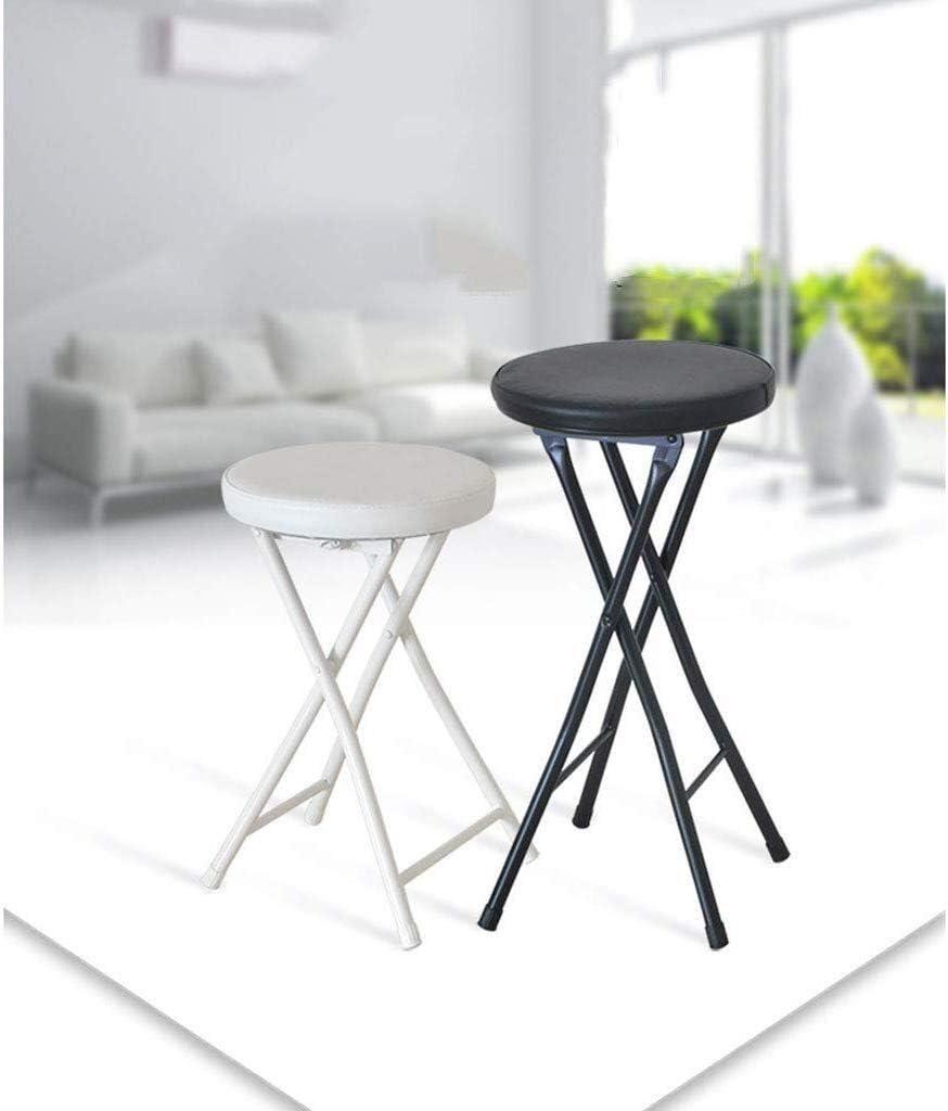 Chaise Longues Ménage pliant Tabouret robuste 24 pouces portable pliable PU siège rembourré Tabouret ronde (Color : Black) Black