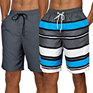 SILKWORLD Men's 2 Pack Swim Trunks Quick Dry Beach Boardshorts Classic Length