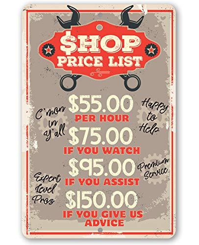 43LenaJon Metallschild Shop Preisliste langlebiges Metallschild 8 x 12 Verwendung Indoor/Outdoor Macht eine tolle Garage Dekoration