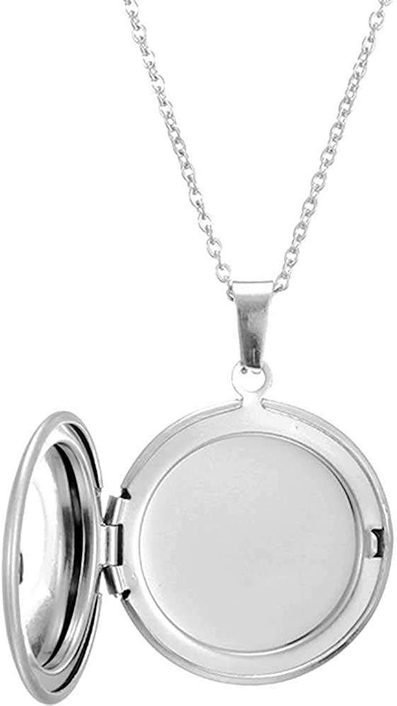 Stainless Steel Round Shaped Locket Style Statement Party Wedding Pendant Necklace