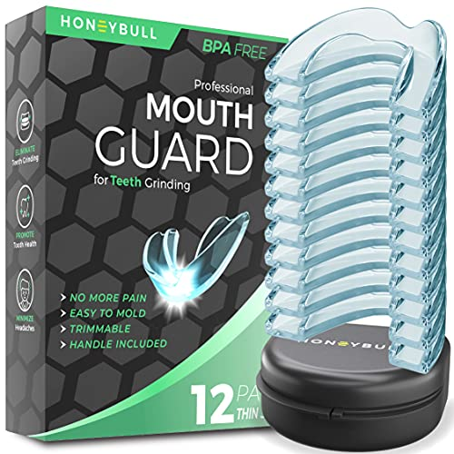 HONEYBULL Mouth Guard for Grinding Teeth [12 Pack] 1 Size for Light Grinding | Comfortable Custom Mold for Clenching at Night, Bruxism, Whitening Tray & Guard