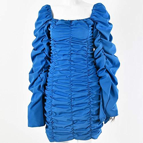SDRYGHS Tops de verano para mujer, vestidos sexy de hombros descubiertos, vestidos de mujer, con cuello fruncido, moda de otoño y mujer, vestidos de fiesta mini vestido (color: azul claro, tamaño: M)