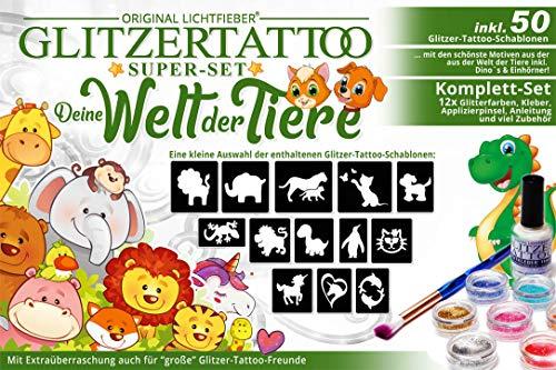 Original Lichtfieber  Glitzertattoos Glitzer Tattoo Komplett-Set - Deine Welt der Tiere - für Jungen und Mädchen mit 50 Schablonen / Motiven, 12 Farben