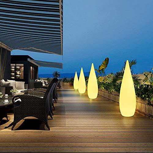MH-LAMP Lampara Pie Exterior Jardin, Lampara Salon LED Regulable, con Control Remoto Recargable, Lámpara de Pie con Forma de Gota, Impermeable IP54,Blanco,A
