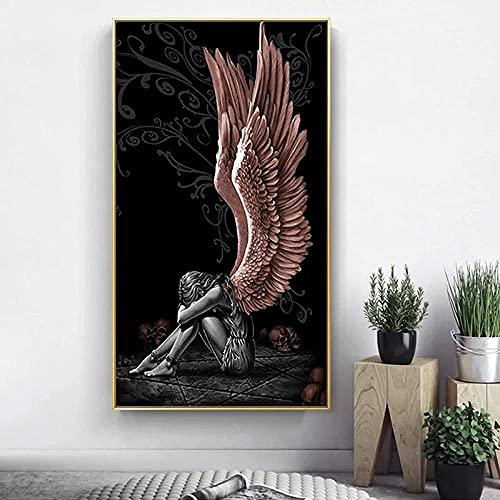 Cartaz Pintura Decorativa Anjos e Demônios Pintura em Tela Asas Vermelhas Cinza Cartazes Impressões Arte na Parede Imagem para Viver 40X60cm (16x24inch) Sem Moldura