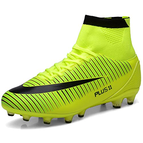 LIANNAO Chaussures de Football Homme Chaussures Athlétisme Entrainement pour Adolescents Garçon High Top AG/FG Spike Futsal Chaussures de Sport Crampons Professionnel Unisexes,Vert43 EU