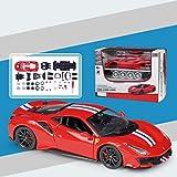 Scala 1:24 assemblato in Lega Modello di Auto,Corpo in Lega Pneumatici in Gomma Artigianato superbo Giocattoli Costruzione di Auto Rosso 20.5 * 8.4 * 4,8cm