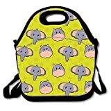 ziHeadwear Pack of Smiling Jungle Animals Neoprene Lunch Bag Insulated Lunch Box Tote...
