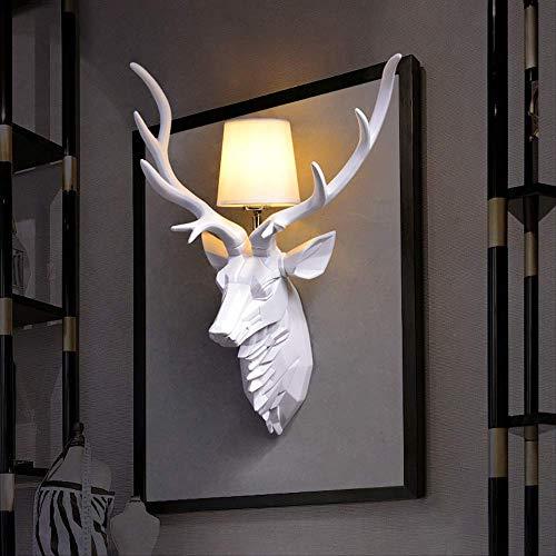 Lampara Pared Lamparas Apliques Lucesluces De Paredantler Wall Lights Deer Head Wall Lights Living Room Bedhead 55 * 37Cm 6025 White Small Wall Lamp